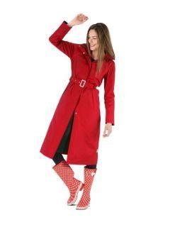 Dames-regenjas-Happy-Rainy-Days-extra-lang-Rosa-voorkant-model