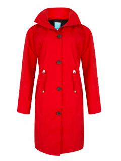 Dames-regencoat-Happy-Rainy-Days-rood-Rosa-voorkant